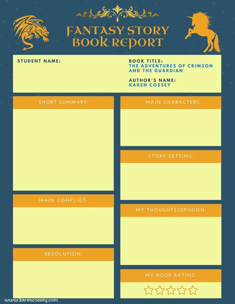 Free 3-5 grade fantasy book report template